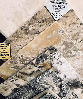 In-Stock marble granite at Clarks Building & Decorating Center in Hot Springs, Arizona
